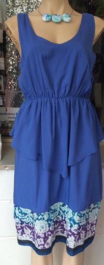 Blue Peplum Cotton Dress S12